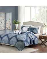 Audra Large Medallion Reversible Quilted Coverlet Set (King/California King) Navy (Blue) - 6pc
