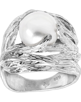 Silpada 'Nested Pearl' 9.5-10 mm Freshwater Button Pearl Ring in Sterling Silver, Size 6