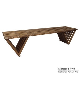 Backless Wood Bench 6' Made in America (Espresso Brown)