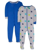 Little Star Organic Baby Boys & Toddler Boys Brights 1-Piece Snug Fit Cotton Sleeper Footed Pajamas, 2pk (0/3M-5T)