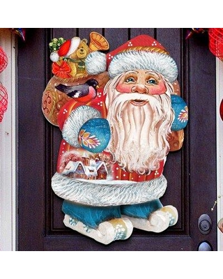 Amazing Deal On The Holiday Aisle Old World Skiing Santa Wooden Holiday Hanging Figurine Wood Door Hanger Wall Decor Wood In Red Yellow Blue Wayfair