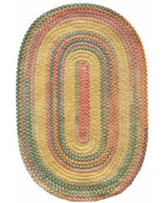 """August Grove Brayden Hand-Braided Cotton Yellow Area Rug W001098338 Rug Size: Oval 24"""" x 8'"""