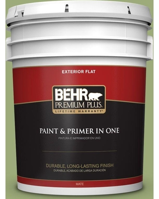 BEHR Premium Plus 5 gal. #BIC-12 Siamese Green Flat Exterior Paint and Primer in One