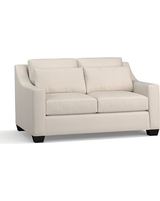 """York Slope Arm Upholstered Deep Seat Loveseat 60"""", Down Blend Wrapped Cushions, Performance Twill Stone"""