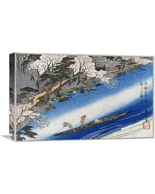 """Global Gallery 'Cherry Blossoms at Arashiyama' by Hiroshige Painting Print on Wrapped Canvas GCS-264993 Size: 13.79"""" H x 22"""" W x 1.5"""" D"""