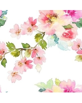 """House of Hampton Carnes Removable Nursery Spring Floral 8.33' L x 100"""" W Peel and Stick Wallpaper Roll BF182783"""