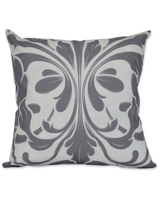 British Colonial Geometric Print Square Throw Pillow in Grey