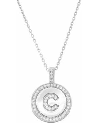 "Sterling Silver Cubic Zirconia Initial Pendant Necklace, Women's, Size: 18"", White"