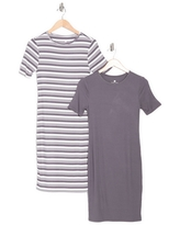 LAUNDRY BY SHELLI SEGAL Short Sleeve T-Shirt Dress - Pack of 2, Size Large in White/Stone Grey at Nordstrom Rack