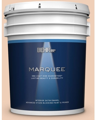BEHR MARQUEE 5 gal. #PPU3-07 Pale Coral Satin Enamel Interior Paint and Primer in One