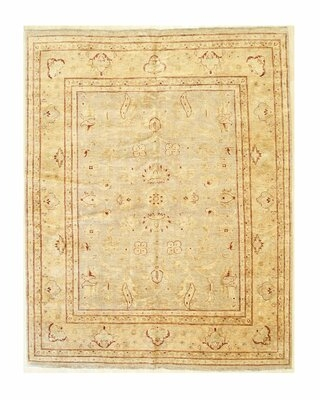 """One-of-a-Kind Camille Hand-Knotted Beige 7'11"""" x 10'1"""" Wool Area Rug"""
