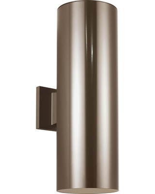 Sea Gull Lighting Outdoor Cylinders Bronze Outdoor Integrated LED Wall Lantern Sconce