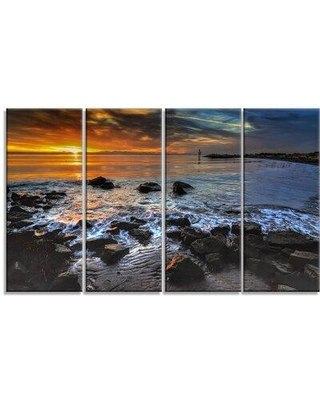Design Art 'Sunset Over Rocky Ocean Shore' 4 Piece Photographic Print on Wrapped Canvas Set PT14622-271