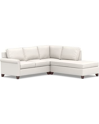 Cameron Roll Arm Upholstered Left 3-Piece Bumper Sectional, Polyester Wrapped Cushions, Performance Everydaylinen(TM) by Crypton(R) Home Ivory