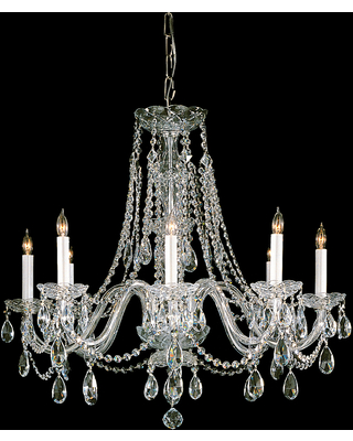 Crystorama Traditional Crystal 8-Light 26 inch Traditional Chandelier in Polished Brass with Clear Hand Cut Crystals