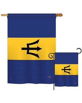 Breeze Decor Barbados of the World Nationality Impressions Decorative Vertical 2-Sided Polyester Flag Set BD-CY-S-108342-IP-BO-D-US15-BD
