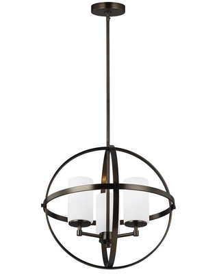 Sea Gull Lighting Alturas 3-Light Brushed Oil Rubbed Bronze Orb Chandelier with Satin Etched Glass Shades