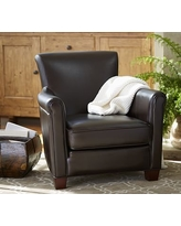 Delicieux Irving Leather Armchair, Polyester Wrapped Cushions, Statesville Pebble