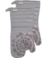 """Gray Medallion Silicone Oven Mitt 2 Pack (13""""x13"""") T-Fal"""