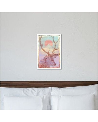 "Ebern Designs 'Forest Majesty Colorful' Graphic Art Print BF185381 Size: 32"" H x 22"" W x 0.5"" D Format: White Framed"