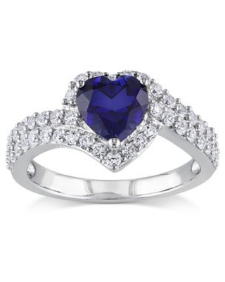 Miadora Sterling Silver Created White and Blue Sapphire Heart Halo Crossover Ring (9)