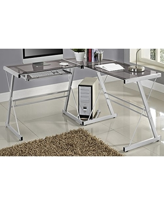 WE Furniture Grey 3 Piece Soreno Silver with Smoke Glass Corner Desk L Shaped Workstation Gaming Writing Desk and Laptop Table for Home Office