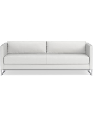 """Paxton 90"""" Sofa, Standard Cushion, Pebbled Leather, White, Polished Nickel"""
