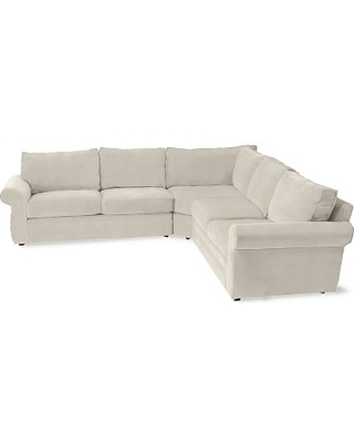 Pearce Roll Arm Upholstered 3-Piece L-Shaped Sectional, Down Blend Wrapped Cushions, Sunbrella(R) Performance Slub Tweed Pebble