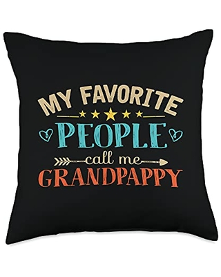 Favorite People Call Me Grandpappy Gifts Co My Favorite People Call Me Grandpappy Retro Style Grandpa Throw Pillow, 18x18, Multicolor