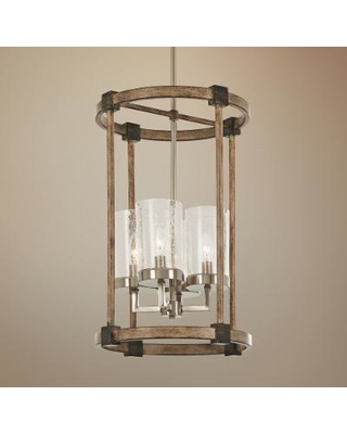 "Bridlewood 14 1/2""W Stone Gray and Nickel 4-Light Pendant"