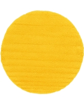 Solid Shag Tuscan Sun Yellow 8 ft. x 8 ft. Round Area Rug