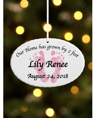 Personalized Baby Feet Ceramic Oval Christmas Ornament, Available in 5 Designs