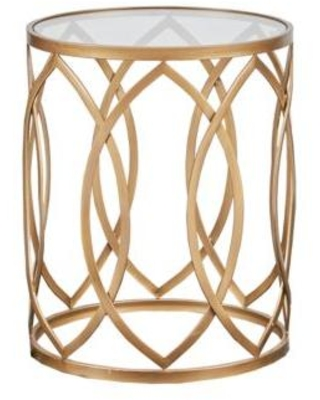 Madison Park Gold/Glass Arlo Metal Eyelet Accent Table