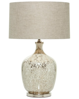 LITTON LANE 16 in. x 26.5 in. Silver Beige Mercury Glass Lighting Table Lamp with Beige Drum Shade