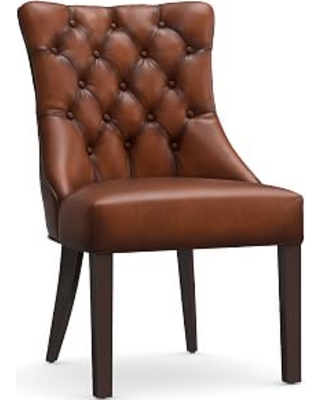 Hayes Tufted Dining Side Chair, Leather Burnished Saddle