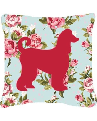 """East Urban Home Afghan Hound Shabby Elegance Blue Roses Indoor/Outdoor Throw Pillow EAAS5569 Size: 18"""" H x 18"""" W x 5.5"""" D"""