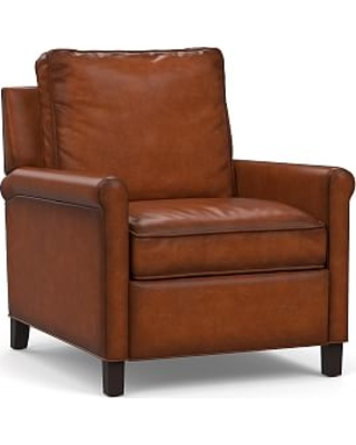 Tyler Roll Arm Leather Recliner without Nailheads, Down Blend Wrapped Cushions, Burnished Saddle