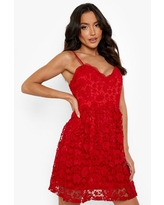 Womens Strappy Crochet Lace Skater Mini Dress - Red - 4