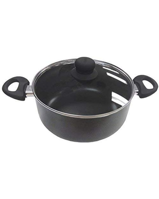 Imusa Nonstick Stock Pot with Glass Lid 4.8-Quart Cookware, Black
