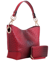 MKF Collection by Mia K. Women's Hobos Red - Red Ostrich-Embossed Wandy Hobo & Wallet