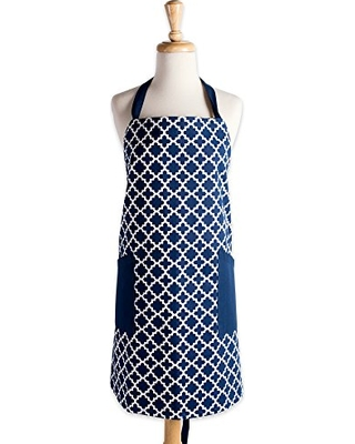 """DII Cotton Adjusatble Women Kitchen Apron with Pockets and Extra Long Ties, 37.5 x 29"""", Cute Apron for Cooking, Baking, Gardening, Crafting, BBQ-Lattice Nautical Blue"""