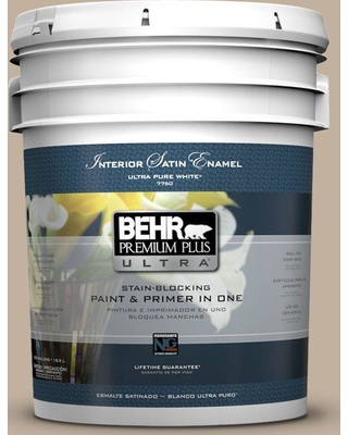 BEHR Premium Plus Ultra 5 gal. #ecc-20-1 Canyon View Satin Enamel Interior Paint and Primer in One