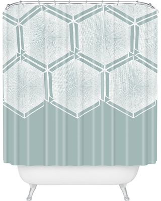 Honeycomb Shower Curtain Blue - Deny Designs
