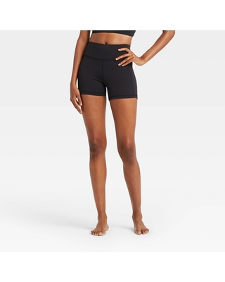 """Women's Contour Power Waist Mid-Rise Shorts 4"""" - All in Motion Black M"""