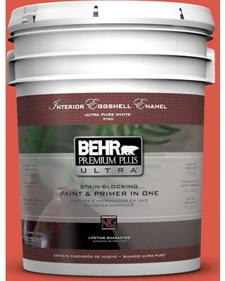 BEHR Premium Plus Ultra 5 gal. #T12-7 Red Wire Eggshell Enamel Interior Paint and Primer in One