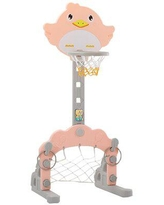 SKYLINE FURNITURE INC 3 In 1 Adjustable Basketball Hoop Stand w/ Basketball/Ring Toss/Soccer, Size 63.7 H x 18.1 W x 20.8 D in | Wayfair