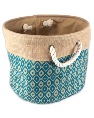 """DII Collapsible Burlap Storage Basket - Home Organizational Solution for Office, Bedroom, & Laundry (Small Round - 12x9""""), Teal Ikat"""