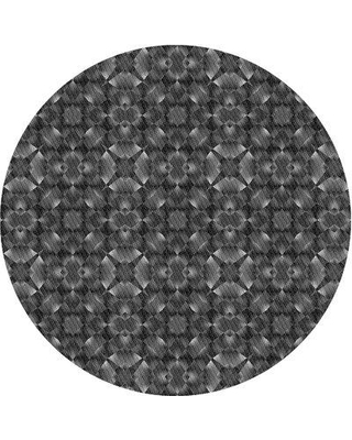 East Urban Home Abstract Wool Gray Area Rug X113616758 Rug Size: Round 4'