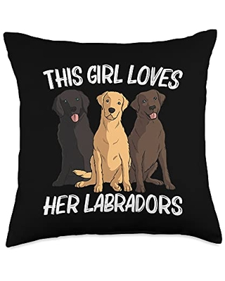 Funny Love Black Chocolate Yellow Labs Designs Gift for Girls Women Labrador Retriever Dog Lovers Throw Pillow, 18x18, Multicolor