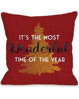 """One Bella Casa Most Wonderful Time Tree Throw Pillow 74472PL1 Size: 18"""" H x 18"""" W"""